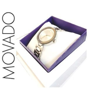 NWT stunning authentic MOVADO Bold watch silver